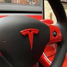 3szt glazura czerwona dla Tesla Model 3 Auto logo kierownica łatka dekoracyjna akcesoria do modyfikacji głowa samochodu skrzynka ogonowa logo
