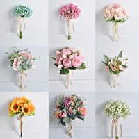 Ollymurs casamento flores bouquets de noiva ramos novia artificiales 11.8 polegada 0.2kg pano flor acessórios do casamento