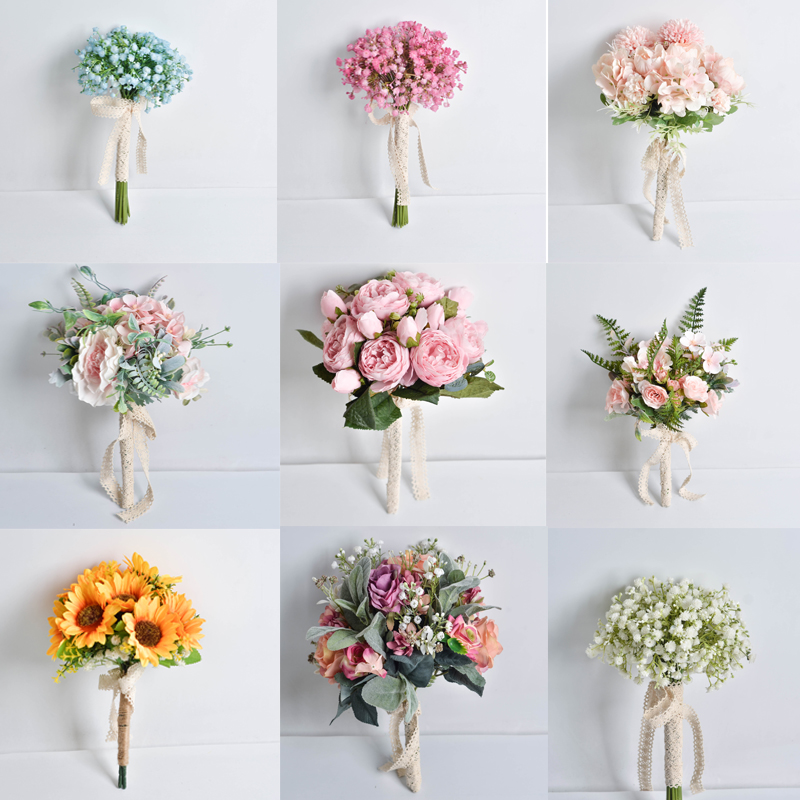 Wedding Flowers Bridal Bouquets  Ramos De Novia Artificiales 11.8inch 0.2kg Cloth Flower Free Shipping Wedding Accessories