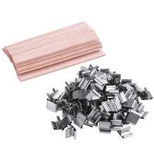 Candle Wicks Cores Wood 100pcs with Iron-Stand Natural Environmental-Friendly-Wick
