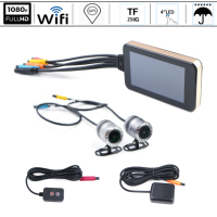 GPS WIFI 128G FHD 1080P Moto Camera Motorcycle DVR Front Rear Dual Camera Driving Video Recorder Dash Cam MotorBike Waterproof