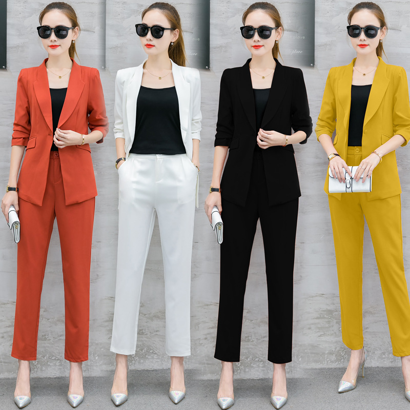New Women's Office Lady Two Pieces Sets Solid Elegant Women's Pants Suits Set Female Blazers And Full Length Trousers Suit W1895