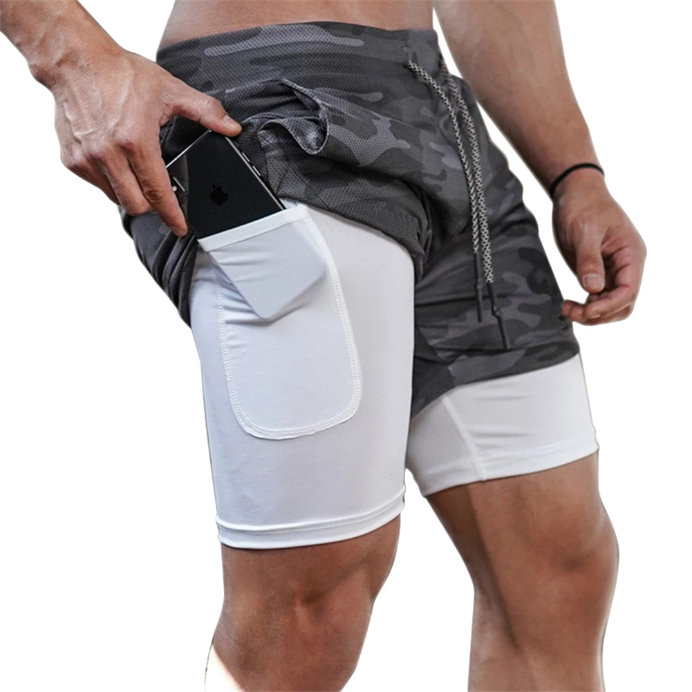 Men's Running Shorts Mens 2 In 1 Sports Shorts Male Double-deck Quick Drying Sports Men Shorts Jogging Gym Shorts Men