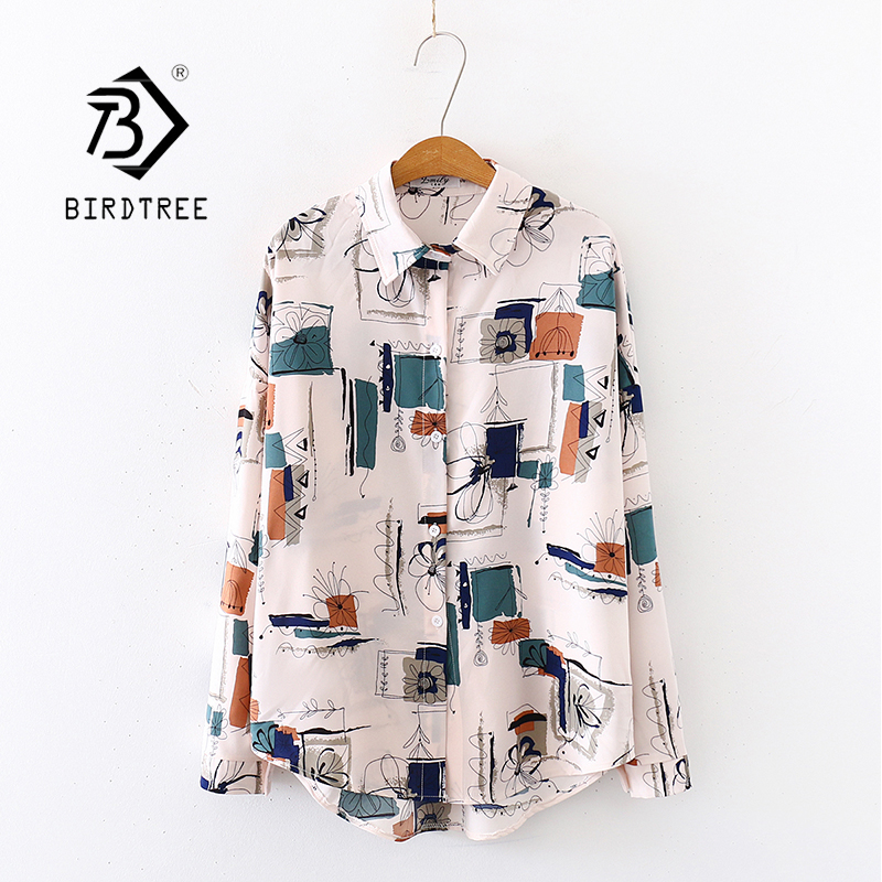 2020 Summer New Women Painting Print Chiffon Blouse Autumn Long Sleeve Apricot Shirt Vintage Oversize Tops Casual Feminina Blusa