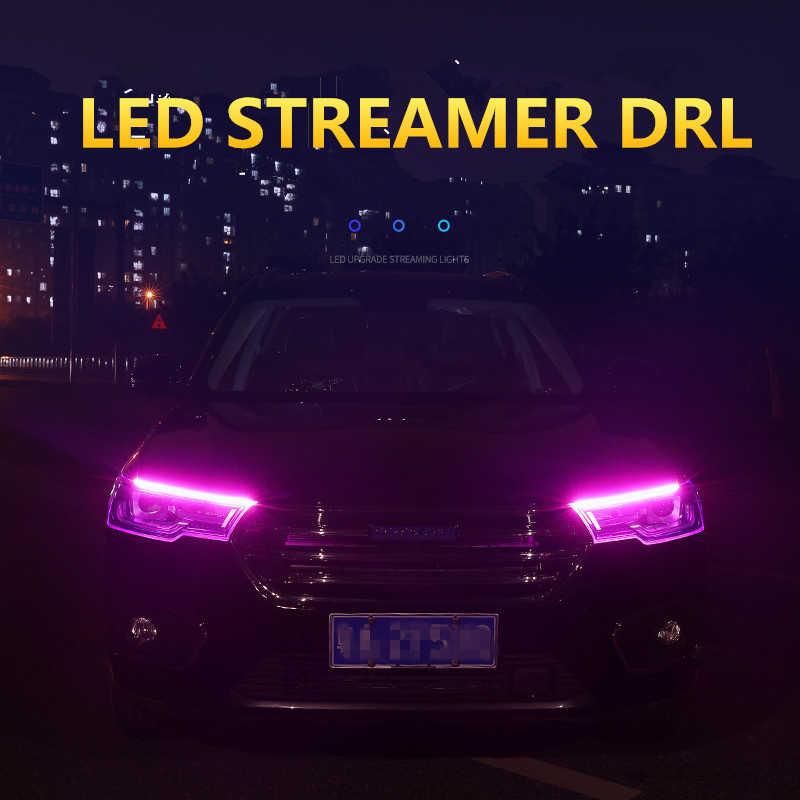 1pc 30cm 45cm 60cm עמיד למים לבן צהוב LED DRL בשעות היום ריצת אור גמיש רכב LED רצועת פנס עם איתות אור