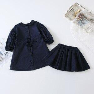 Image 5 - Ensembles de vêtements de princesse à manches longues avec mini jupe en coton de style coréen, à la mode, pour bébés filles, printemps nouveauté