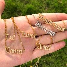 Zircon lettre Constellation collier pour Femme acier inoxydable 12 zodiaque colliers ras du cou Alphabet Bijoux Bijoux Femme BFF