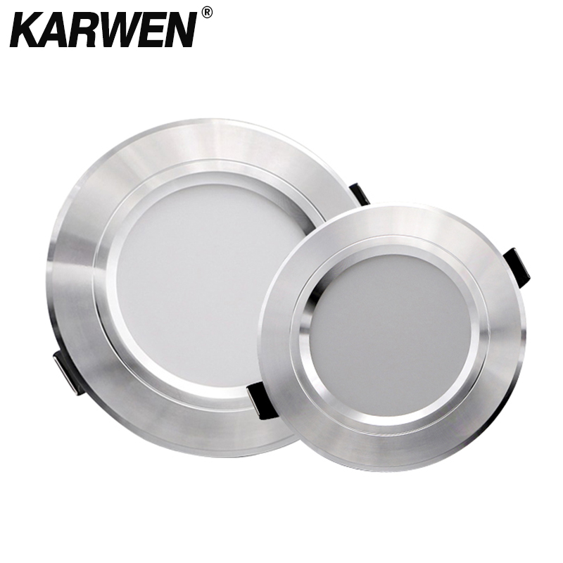 KARWEN LED Downlight Silver Body AC 220V 230V 240V Ceiling Light 5W 9W 12W 15W 18W Led Spotlight For Living Room