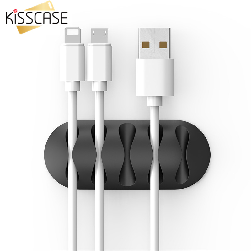 KISSCASE <font><b>Cable</b></font> <font><b>Organizer</b></font> For Mobile Phone <font><b>Cable</b></font> Wire Clips Charging Holder Desk <font><b>Organizer</b></font> <font><b>Cable</b></font> Winder Wire Management Protector image