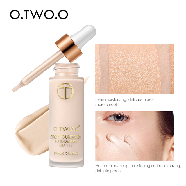 O.TWO.O Liquid Foundation Professional Makeup Base  Oil Free Full Coverage Concealer Long Lasting Liquid Foundation Cosmetics 5