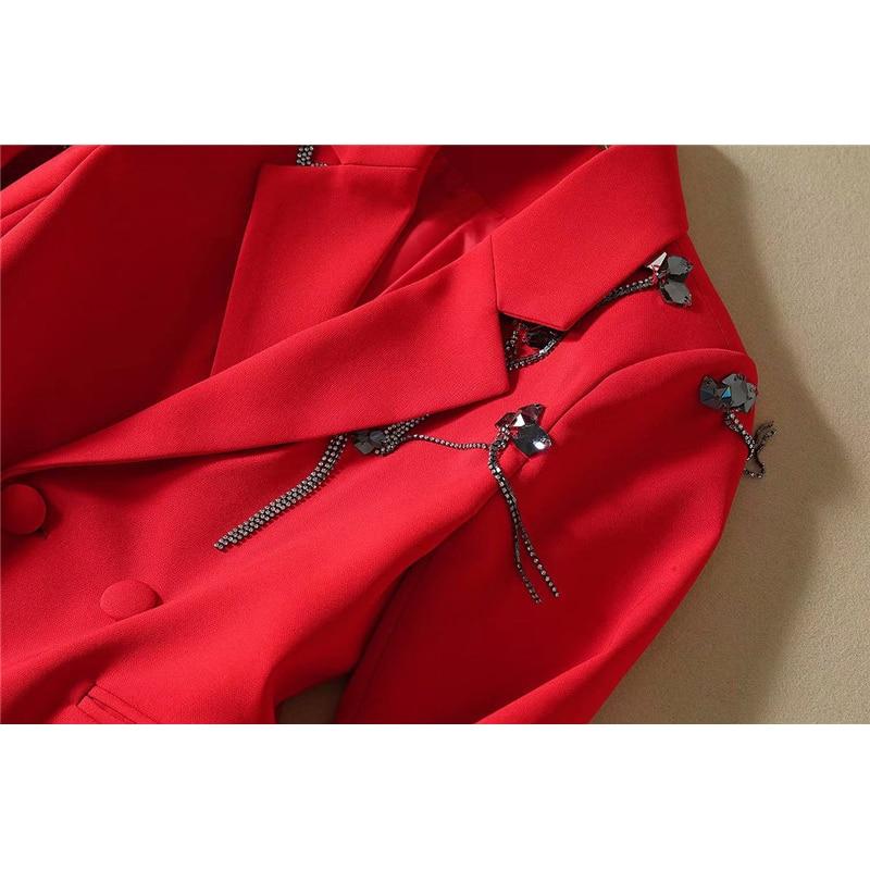 2019 Nuovo Autunno Inverno Donne di Pista Pantaloni 2Piece Set Diamonds Manica Lunga Che Borda il Vestito della Giacca Sportiva Pantaloni Tuta di Lavoro OL partito Abiti - 5