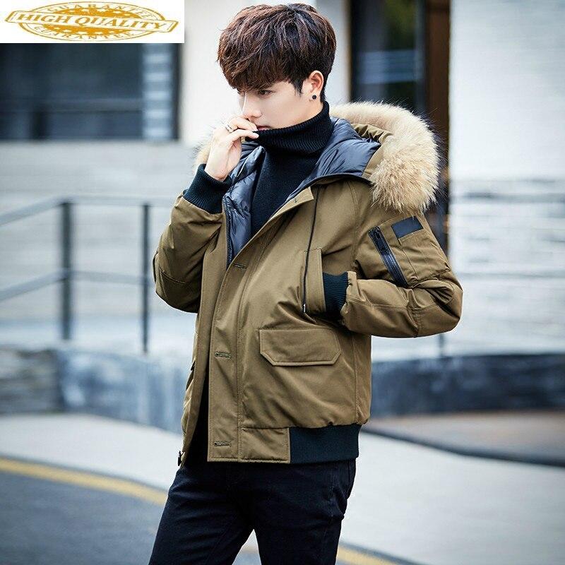 Down Coat Winter Mens Hooded Large Fur Collar Down Jacket Men Short Thick Warm Student Jackets Parka Abrigo Hombre KJ501