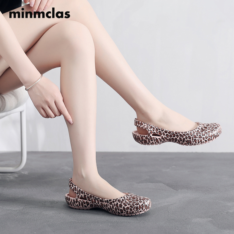 Minmclas Women Clogs Jelly Sandals Home Non-slip Summer Hole Shoes Female Flat Slippers Plastic Female  Waterproof EVA Garden