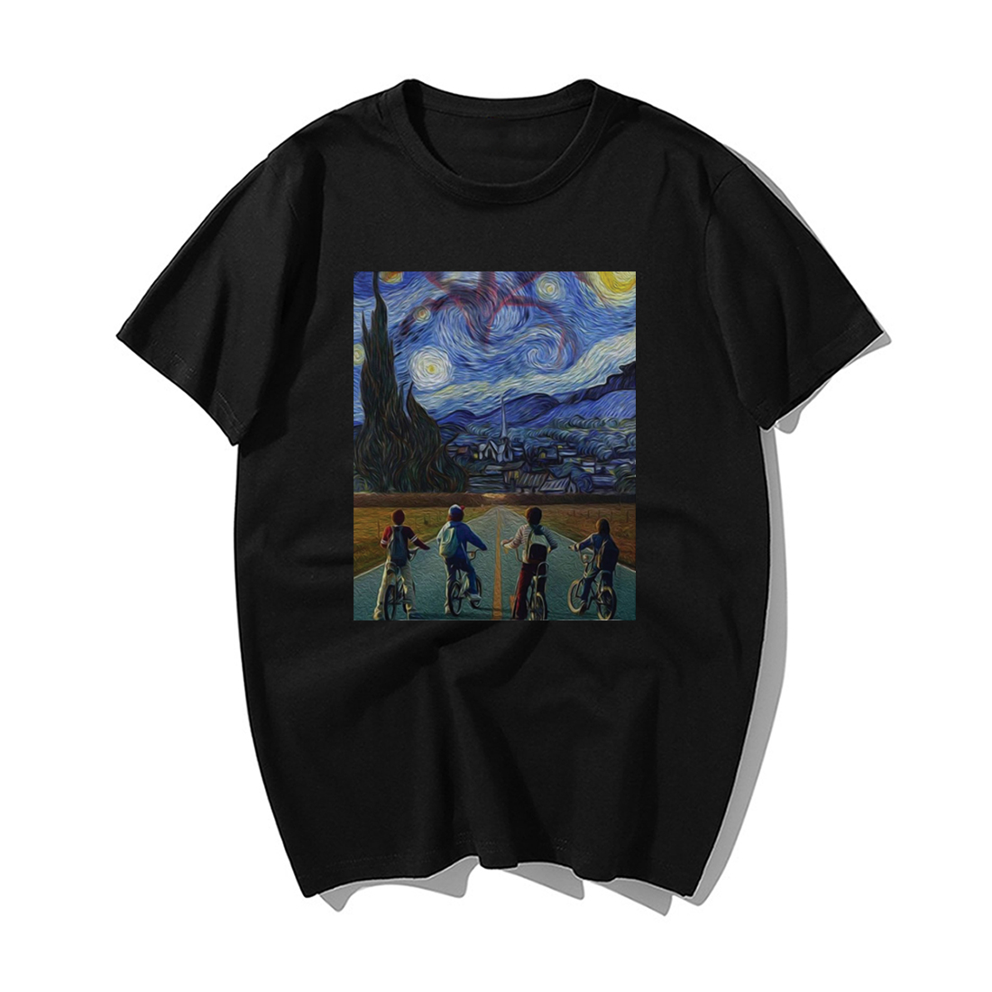 Funny Stranger Things T Shirt Men Fashion Tv Show Tshirt Mens Starry Night Demogorgon Eleven Steve Cotton Hip Hop Tops T Shirt