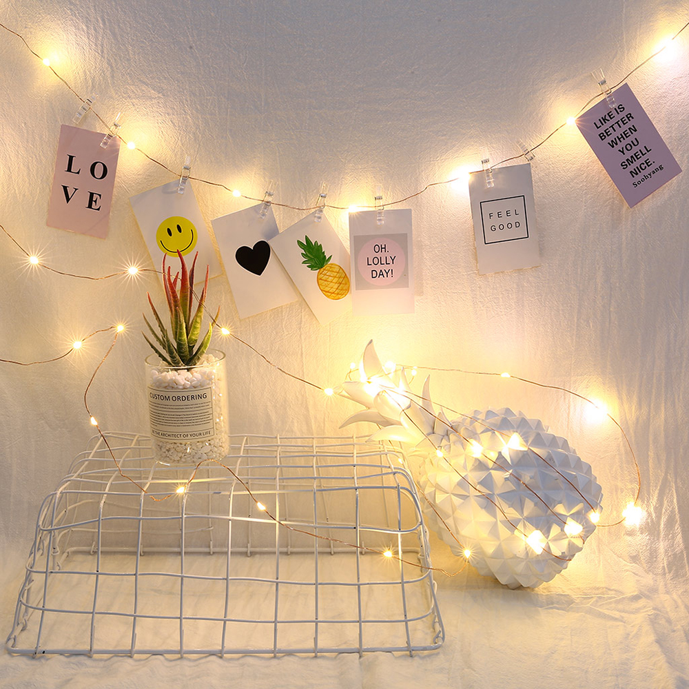 LED Photo Clip String Lights 2M/5M/10M Fairy Lights For Hanging Pictures Dorm Bedroom Wall Wedding Party Decorations D40