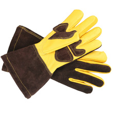 Welding Work Gloves with Leather Palm Welders Thick Cow Leather Stove Heat Resistant BBQ Glove 1 pair welding heat resistant gloves safety gauntlets protection heavy duty black mig leather cowhide welders working gloves