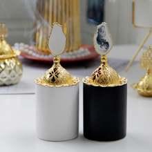 Роскошная золотистая металлическая черно белая горелка для благовоний