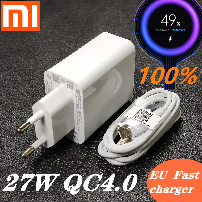 xiaomi Fast <font><b>charger</b></font> <font><b>27W</b></font> Original EU QC 4.0 turbo quick charge adapter usb type c cable for <font><b>mi</b></font> 9 se 9t CC9 Redmi note 7 8 K20 mix image