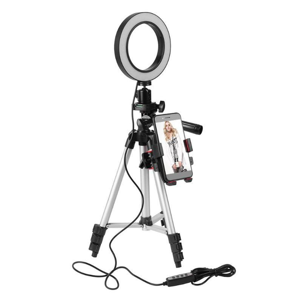 LED Ring Light Tripod Camera Photography Dimmable Adjustable Height Selfie Video Light With Phone Holder 5.7inch Ring Lamp