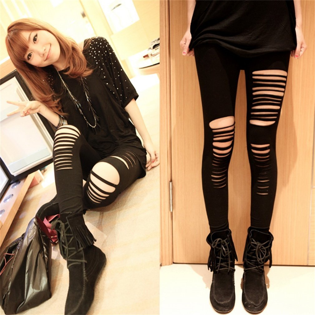 Women Basic Strech Black Leggings Holes Ripped Leggings Punk Rock Fashion Leggins Casual Jeggings Dancing Pant Party Gothic Pant
