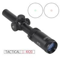 Tactical 1 4x20 IR hunting riflescope fast focus illumination with green red dot rifle scope for PCP for airgun for air soft