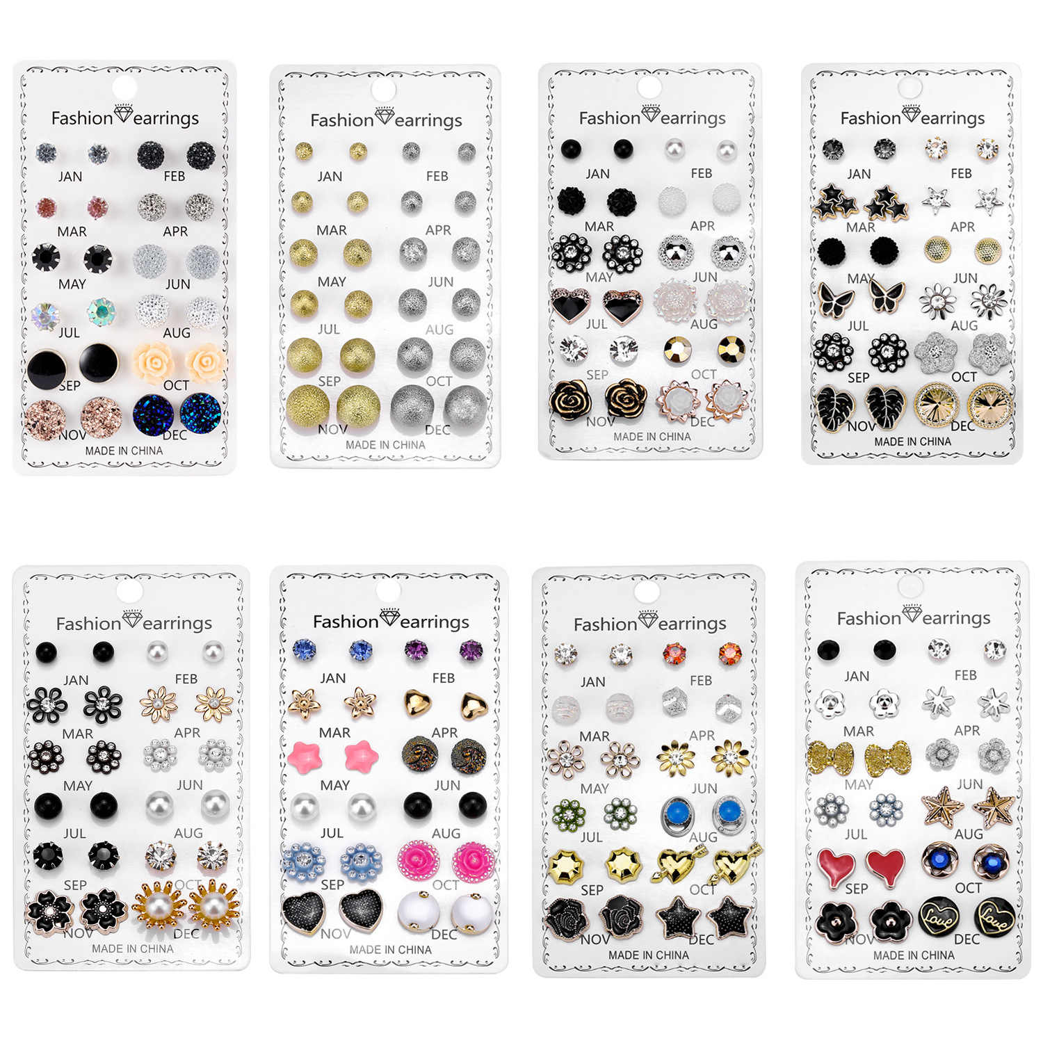 Creative crystal combination paper card earrings for women new set drip oil love flower earrings 12pcs / set jewelry wholesale