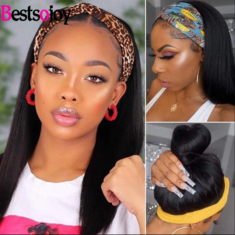 Bestsojoy Headband Wig Brazilian Straight 100% Human Hair Full Wigs For Black Women Scarf Remy Natural Glueless Headband Wigs