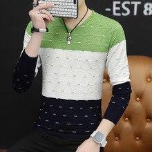 Мужские свитера популярного зеленого цвета с v-образным вырезом, тонкий желтый Молодежный винный красный свитер с длинным рукавом, весенний и осенний мужской свитер