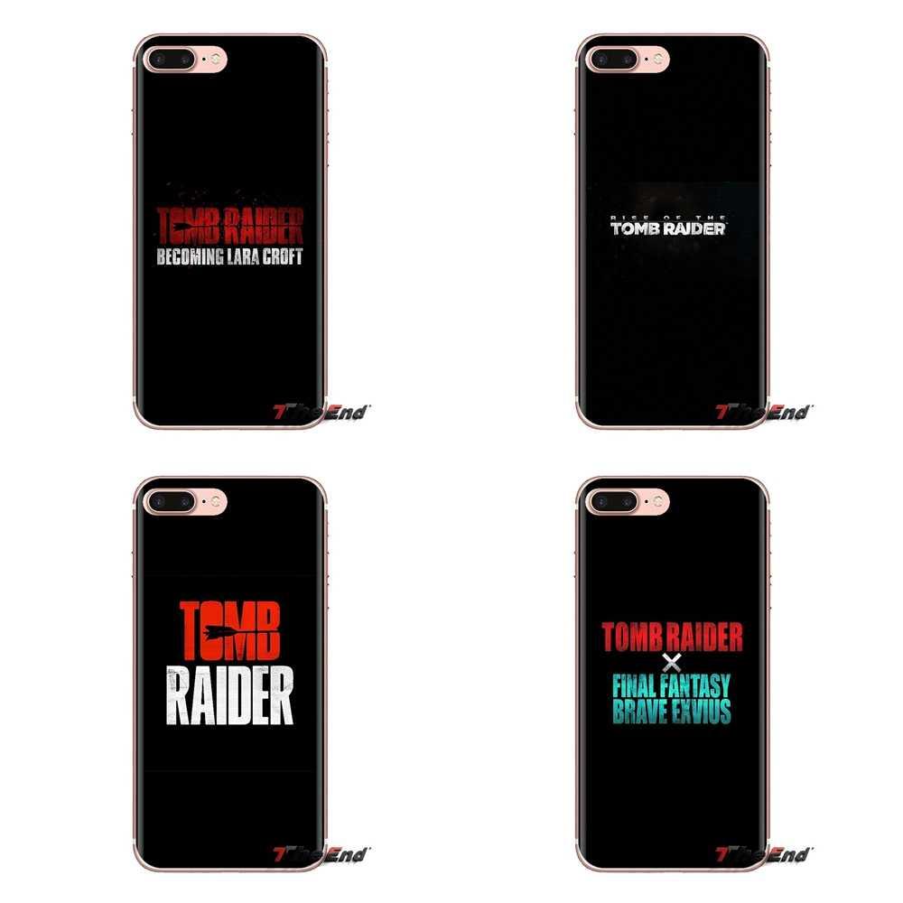Pour HTC One U11 U12 X9 M7 M8 A9 M9 M10 E9 Plus Désir 630 530 626 628 816 820 830 Tomb Raider logo Coque Souple Transparente Couvre