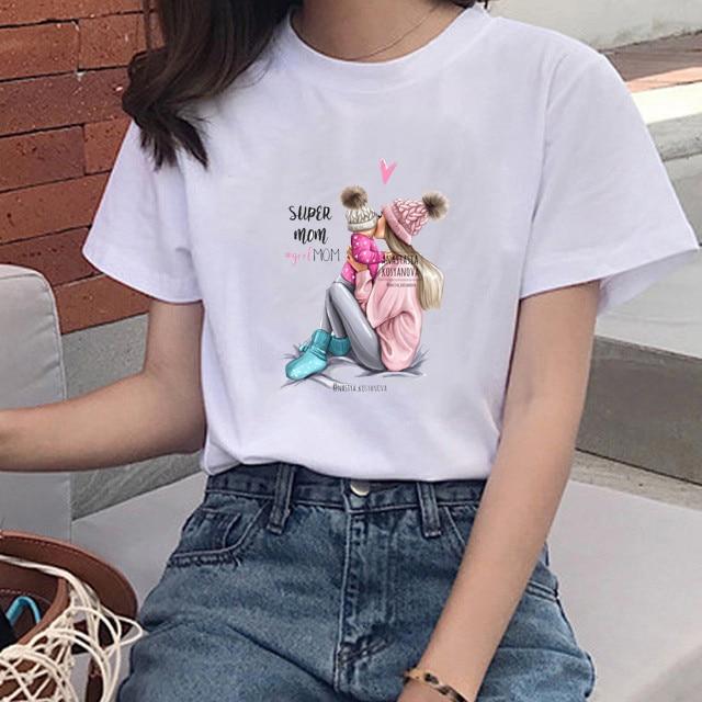 Super Mom T Shirt Women Summer Mother Love Print White T-shirt Harajuku Mama TShirt 3XL O-Neck Shortsleeve Tops Tee Shirt Femme