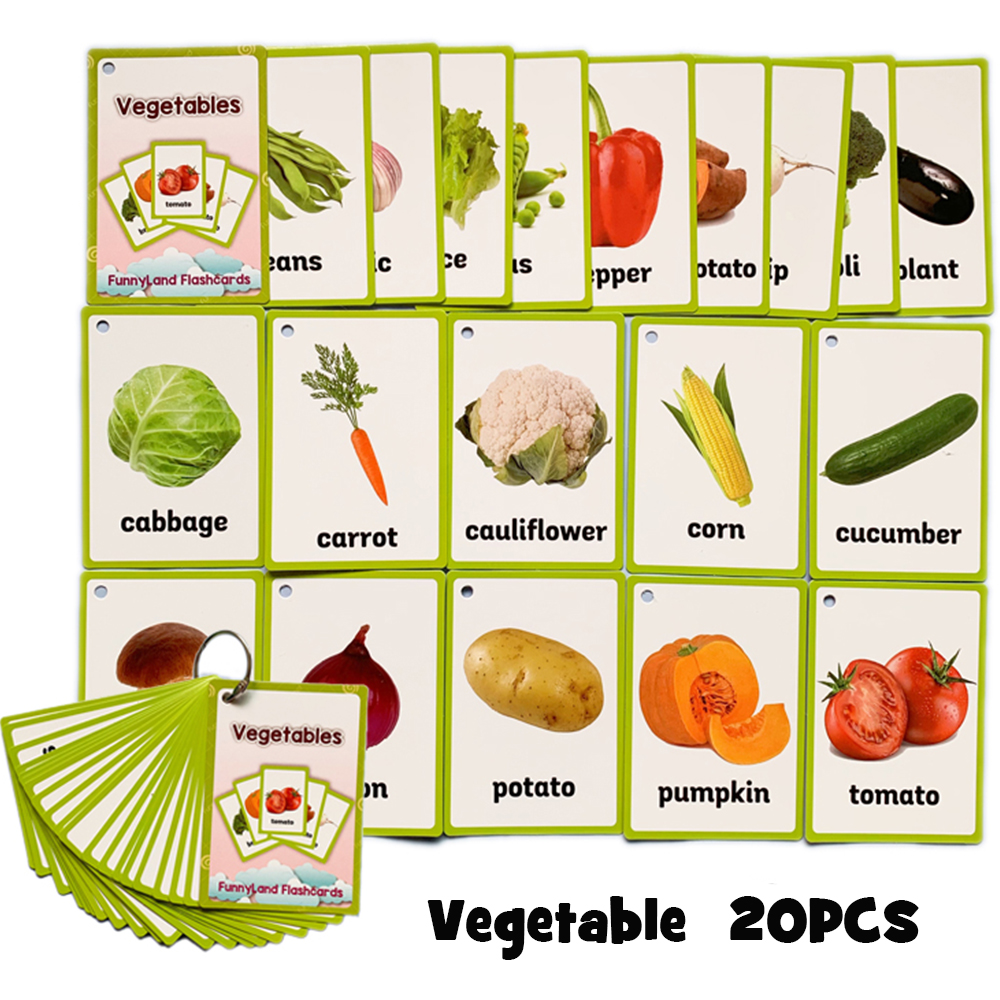 20Pcs/Set Vegetable English Learning Word Card Montessori Early Educational Toys For Children Game Pocket Card Kids Flash Cards