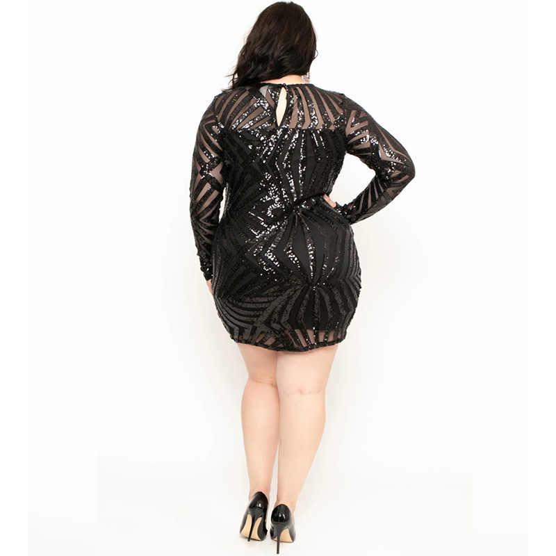 VITIANA ผู้หญิง PLUS ขนาด Sequined PARTY 2020 หญิงแขนยาว Blingbling เซ็กซี่ชุดสำหรับไขมันสตรี Femme คลับ Vestidos