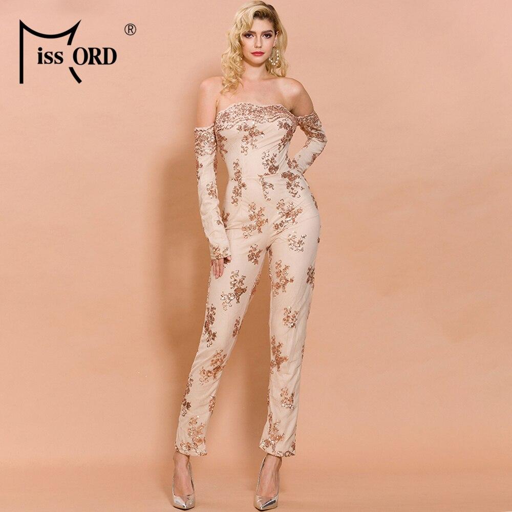 Missord 2019 Autumn And Winter  Sexy Off Shoulder Backless Sequin Overalls Elegant Slash Neck Jumpsuit  FT3568