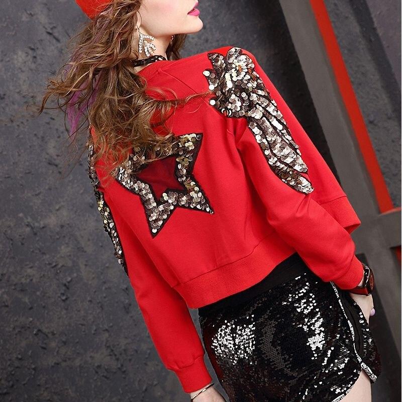 Paillettes Delle Donne Cappotti Casual Rosso Cappotto Bomber Giubbotti 2020 Del Nuovo Streetwear Glitter Star Ali Tuta Sportiva Femminile Giacca Corta Top