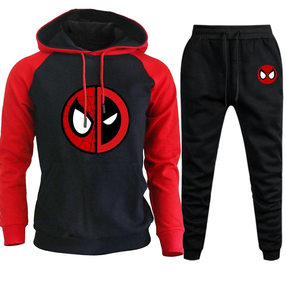 Marvel Movie Deadpool Mens Set Hoodies Pants 2019 New Causal Men Set Hooded Sweatshirt Raglan Hoodie Pant Pullovers Sweatpant