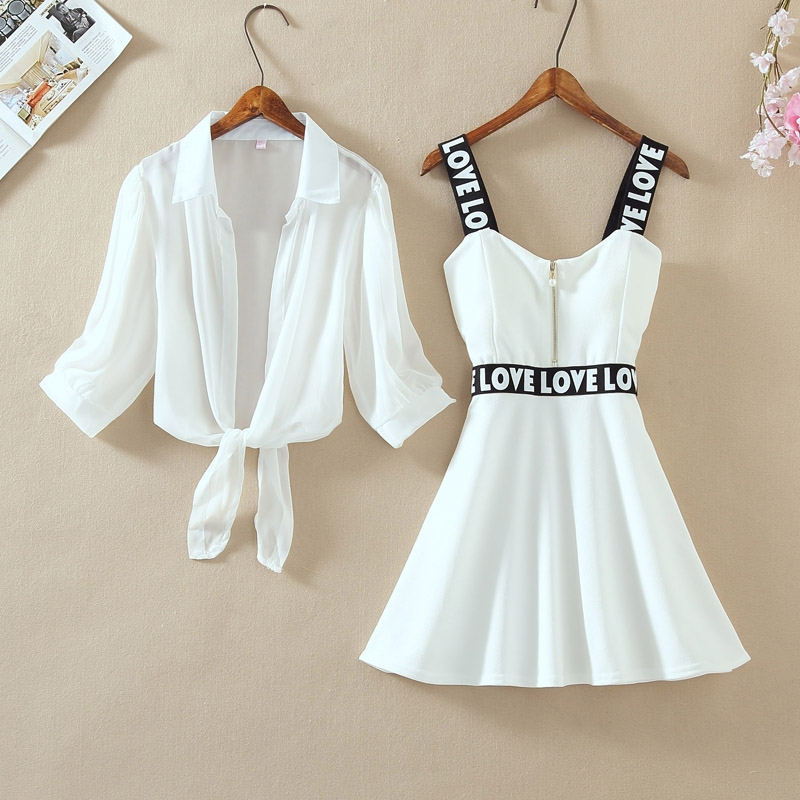 Fashion Women Lantern Sleeve Turn Down Chiffon Shirt Top + Mini Short A Line Letter Spaghetti Strap Dress New Two Pieces Sets