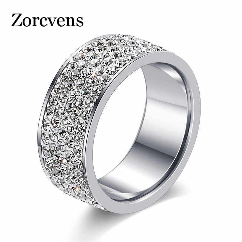ZORCVENS 2019 Новое Брендовое серебряное кольцо из нержавеющей стали 5 строк CZ камень модное обручальное свадебное кольцо для женщин аксессуары mujer