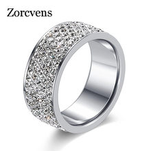 ZORCVENS 2019 New Brand Silver Color Stainless Steel 5 Rows CZ Stone Fashion Engagement Wedding Ring for Woman accesorios mujer(China)