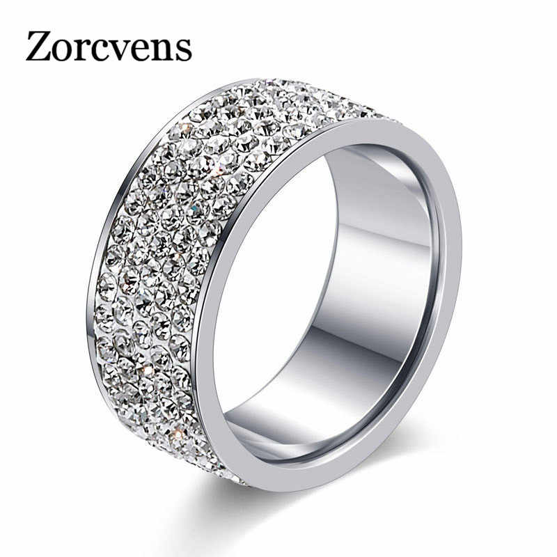 Zorcvens 2019 Baru Merek Warna Perak Stainless Steel 5 Baris CZ Batu Fashion Cincin Pernikahan untuk Wanita Accesorios Mujer