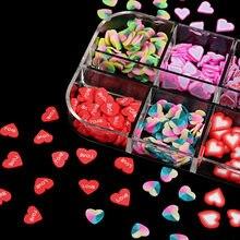 Día de San Valentín dulce amor arte de uñas Sequins3D de arcilla de polímero de escamas láminas uñas arte decoración manicura bricolaje accesorios de resina uñas