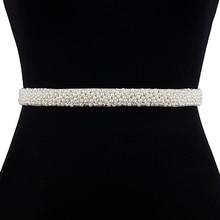 TRiXY S204 Elegant Pearls Belt Wedding Crystal Bridal Sash Beaded Dresses Accessories