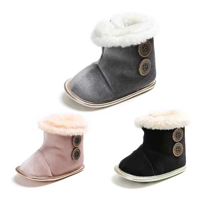 Fashion Autumn Baby Girl Boy Cotton Button Design Boots Casual Shoes First Walkers Newborn Cute Non-slip Soft Sole Shoe