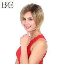 Bchr ombre 가발 짧은 스트레이트 가발 금발 합성 가발 여성을위한 어두운 뿌리 갈색 머리카락 매일