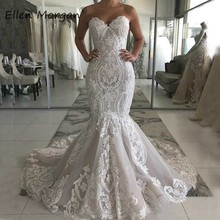 תמונות אמיתיות מתוקה Mermiad תחרת חתונת שמלות 2019 ארוך סקסי כלה שמלות Applique טול משפט רכבת Vestidos דה Novia
