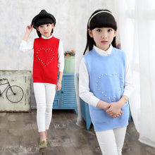 Get more info on the Toddler Girls Cropped Sweater Knit Vest With Pearl Kids Sleeveless Vest Knitting Heart Pattern Baby Knitting Waistcoat 4-13 Year