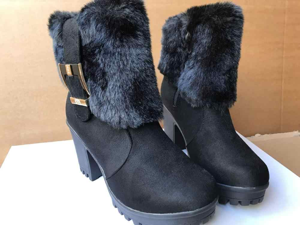 Gót Vuông Nữ Mùa Đông Giày Cổ Điển Khóa Lông Ấm Áp Tuyết Nữ Giày Cao Gót Đen Nền Tảng Mắt Cá Chân Giày Nữ Botas g907
