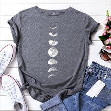 JCGO Summer T Shirt Women 100% Cotton Moon Planet Space Print Plus Size S-5XL O-Neck Short Sleeve Fashion Casual Tee Tops