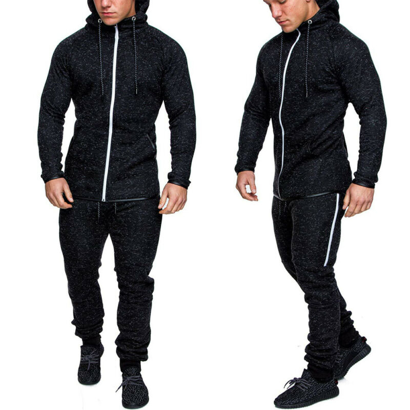 HIRIGIN Men's Exercise Plain Hooded Gym Suit Fleece Jogging Bottoms Tracksuit Man Long Sleeve Casual Colthes(sold Out Separetly)