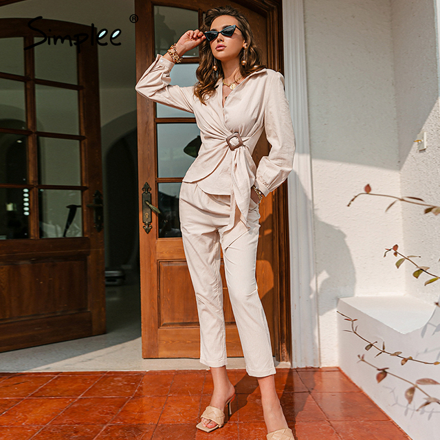 Simplee Casual spring solid wrap women sets office lady V-neck long sleeves two piece set female Elegant cotton sash suits slim 4