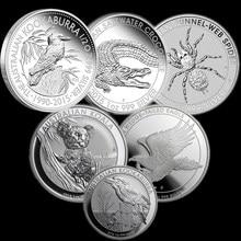 6 шт., немагнитные австралийские серебряные монеты 1 унция 999 пробы, Крокодил + коокабура + паук + Коала + Орел, копии животных, Элизабет, монеты